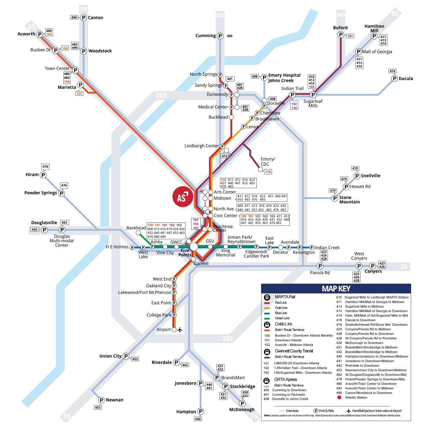 Regional Transit Map to Atlantic Station